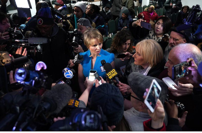 Cynthia Nixon meets with people at the Bethesda Healing Center on March 20, 2018 in Brooklyn, New York at her first event since announcing that shes running for governor of New York.