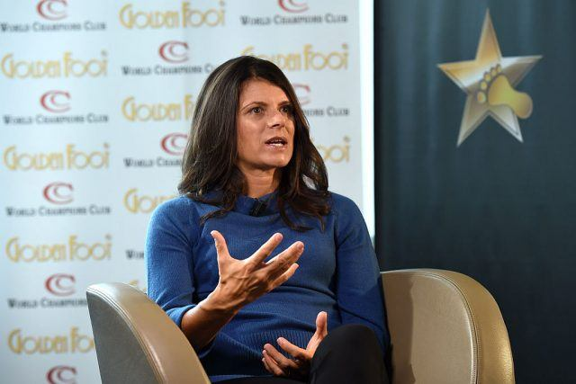 Mia Hamm is interviewed at Monte-Carlo Bay during the Golden Foot