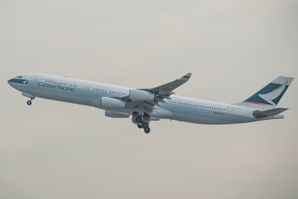 Cathay Pacific plane taking off the tarmac of the international airport in Hong Kong