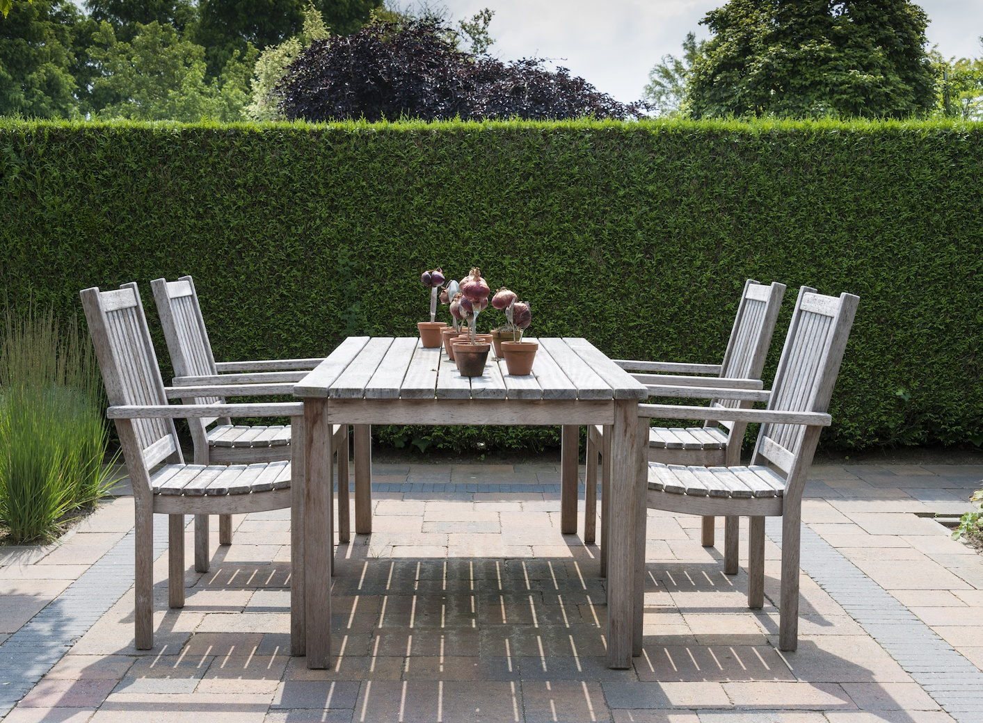 wooden garden furniture in garden with yew hedge