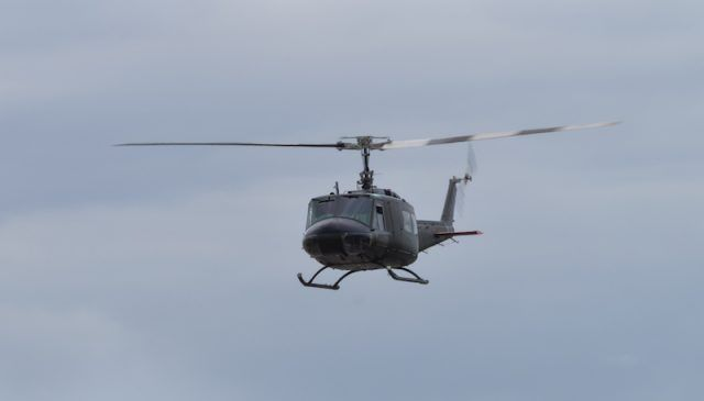 A helicopter in the sky.