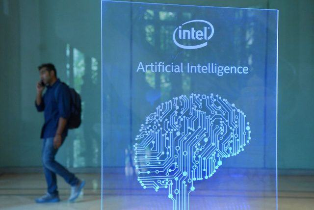 A visitor at Intel's Artificial Intelligence