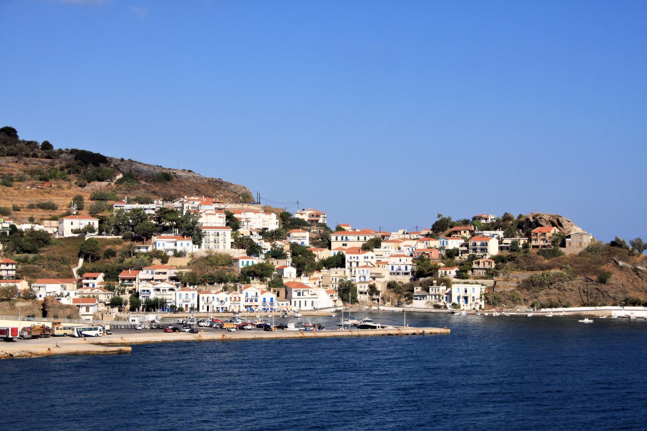 Evdilos town at Ikaria island