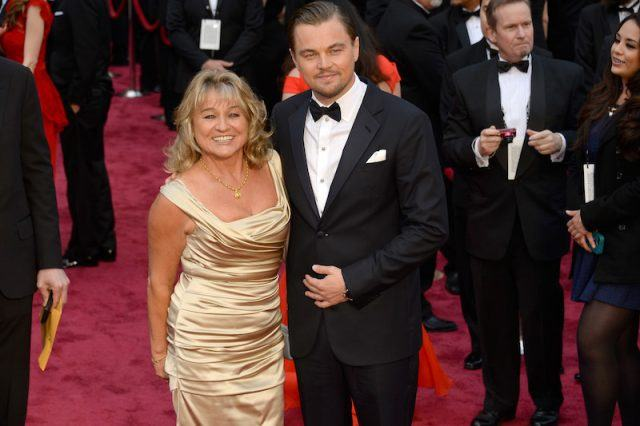 Leonardo DiCaprio and his mother on a red carpet.