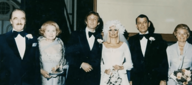 Donald Trump and Ivana Trump posing with guests on their wedding day.