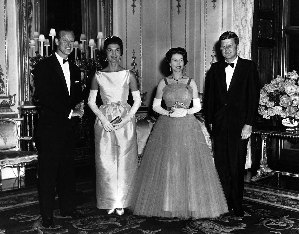 Queen Elizabeth with John F Kennedy and Jackie Kennedy