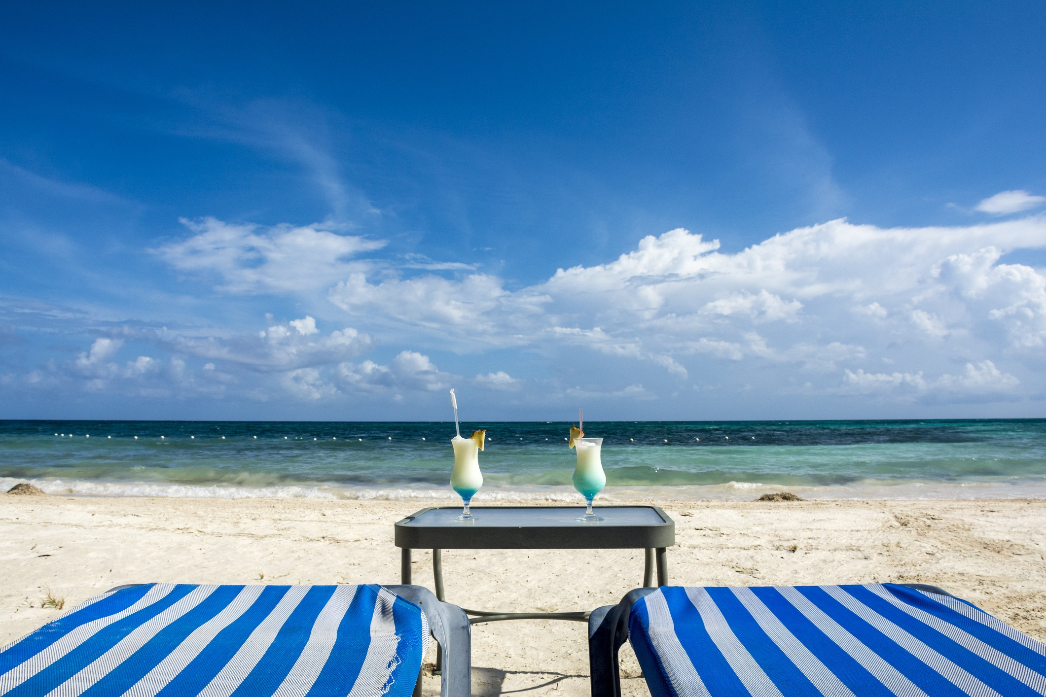Two chairs in Montego Bay, Jamaica beach