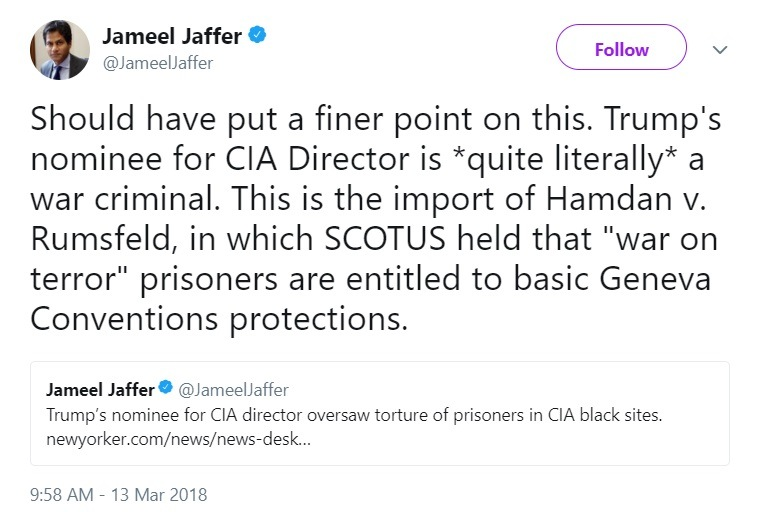 Jameel Jaffer tweet CIA director Haspel