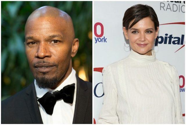 Katie Holmes and Jamie Foxx collage.