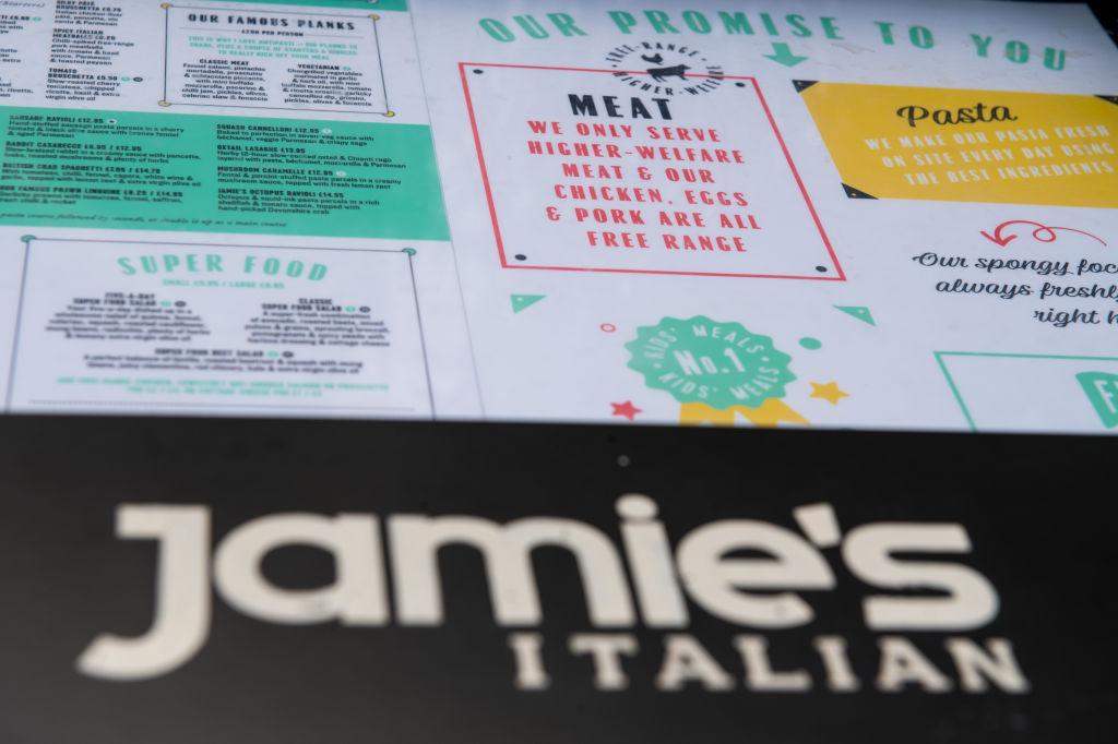 Jamie Olivers' Italian restaurant menu