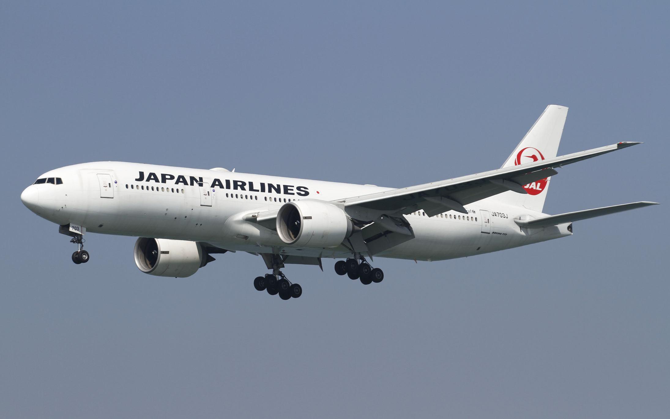 Japan Airlines Boeing 777 in flight