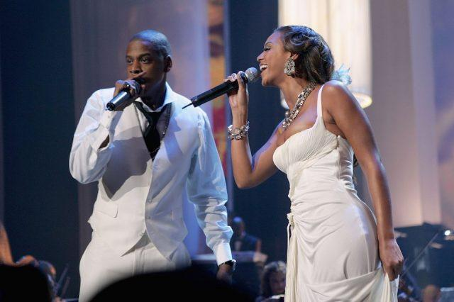 Rapper Jay-Z and singer Beyonce Knowles perform at a concert to celebrate the 10th anniversary of his first album