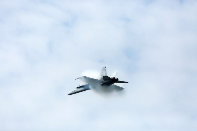 A powerful jet flying in the sky.