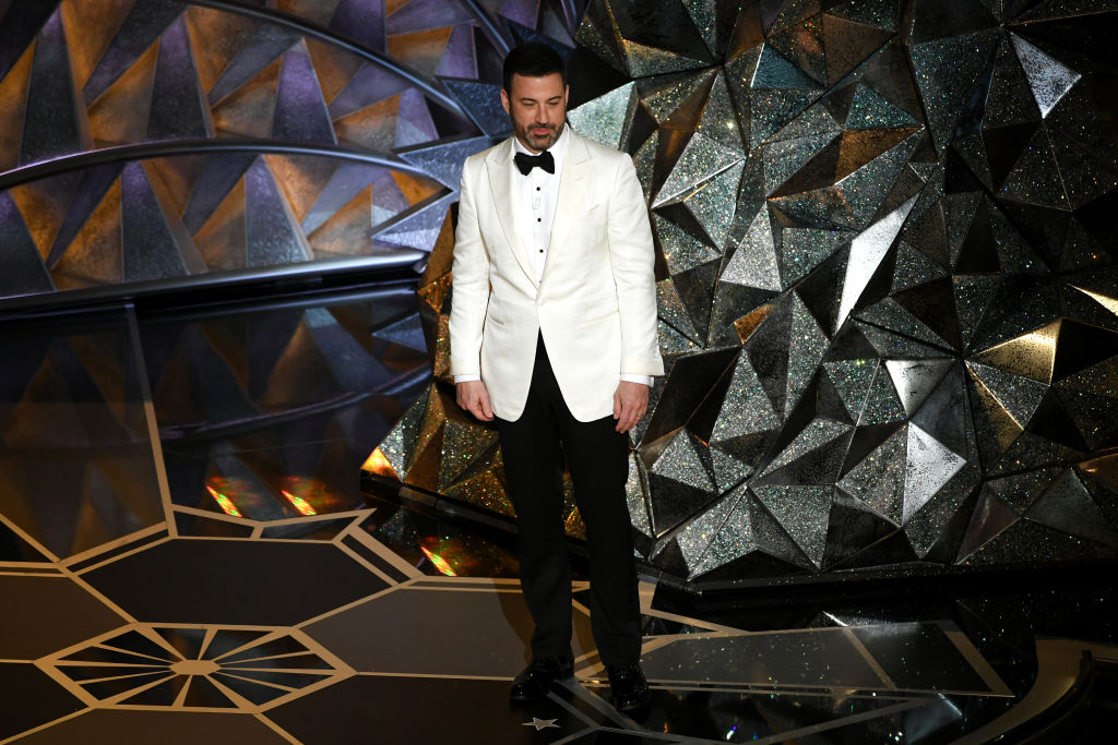 Host Jimmy Kimmel says goodnight onstage during the 90th Annual Academy Awards