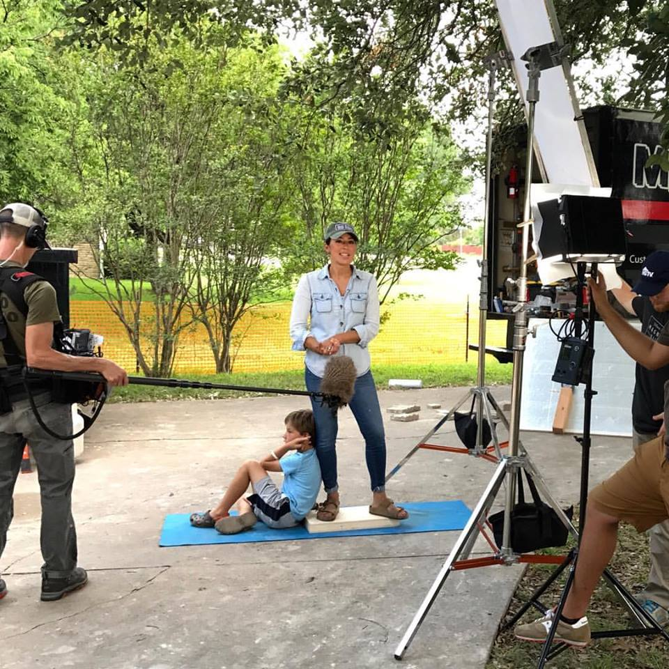 Joanna Gaines interview with her son at her feet