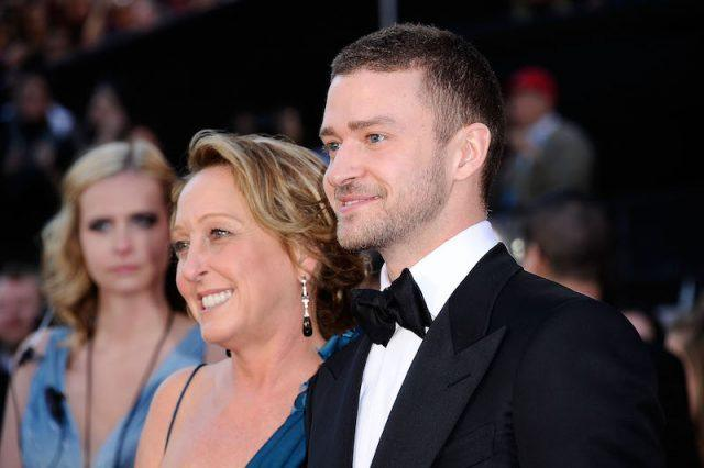 Justin Timberlake and his mother on a red carpet.
