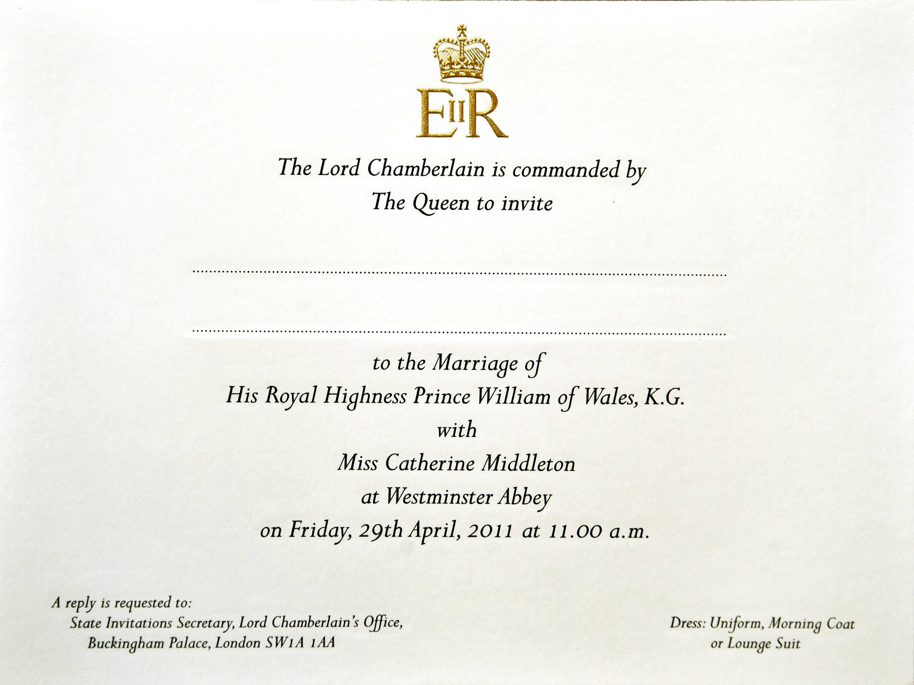 Prince William and Kate Middleton's Wedding Invites Prepared