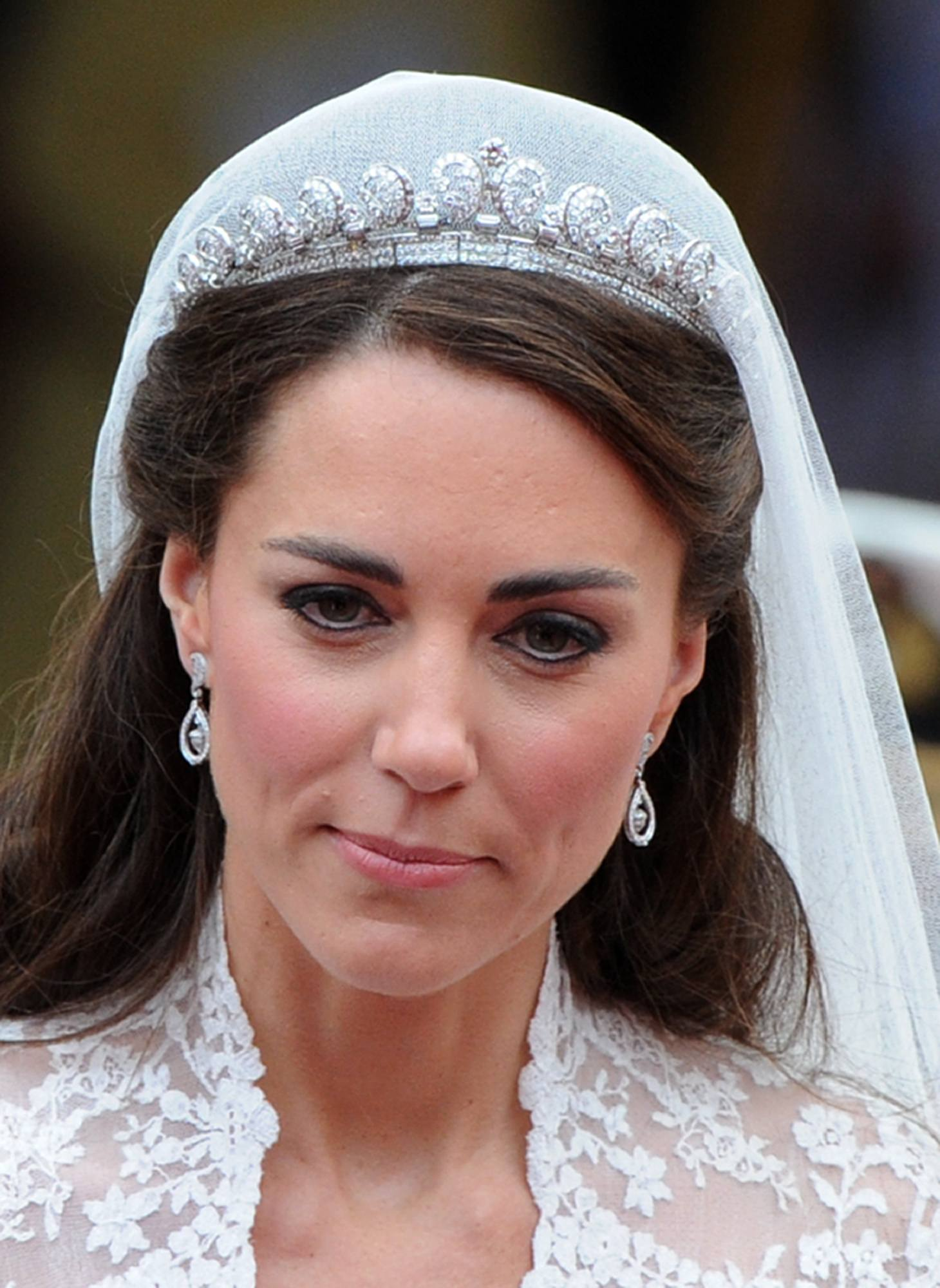 Kate Middleton, Duchess of Cambridge, wearing the Cartier 'halo' tiara on her wedding day