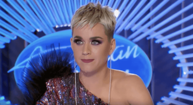 Katy Perry sitting at the judge's desk on 'American Idol'.