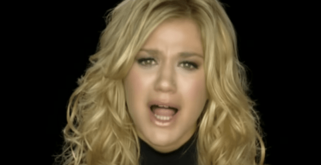 Kelly Clarkson in her music video 'Because of You'.
