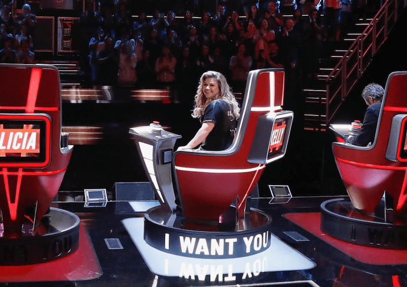 Kelly Clarkson turning around in her chair