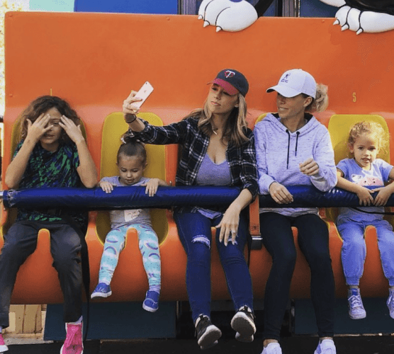 Kendra Wilkinson and her family on a ride.