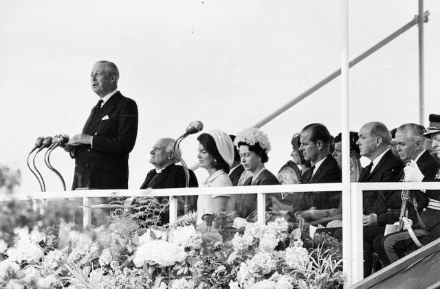 Former British prime minister Harold Macmillan gives a speech at the inauguration ceremony of a memorial to John F Kennedy at Runnymede