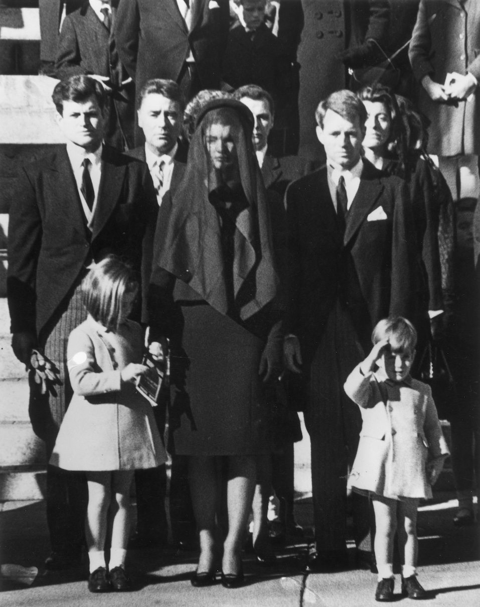 Members of the Kennedy family at the funeral of assassinated president John F. Kennedy at Washington DC.