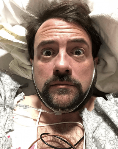 Kevin Smith in his hospital bed.