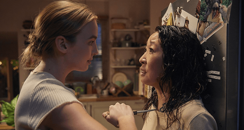 Villanelle with a knife on Eve when they first meet in Season 1 of 'Killing Eve'