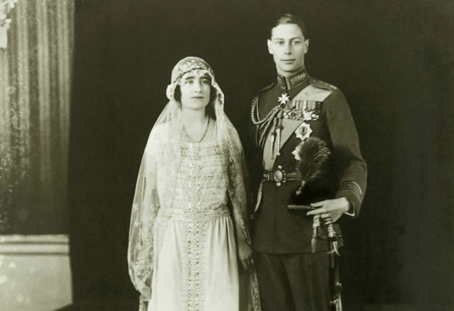 King George VI and Elizabeth Bowes-Lyon's wedding day.