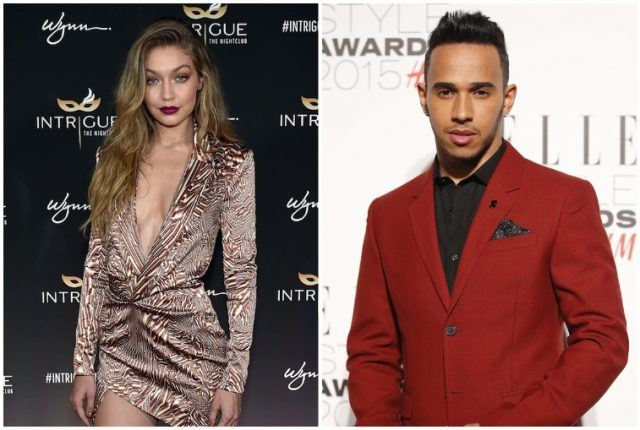Lewis Hamilton and Gigi Hadid collage.