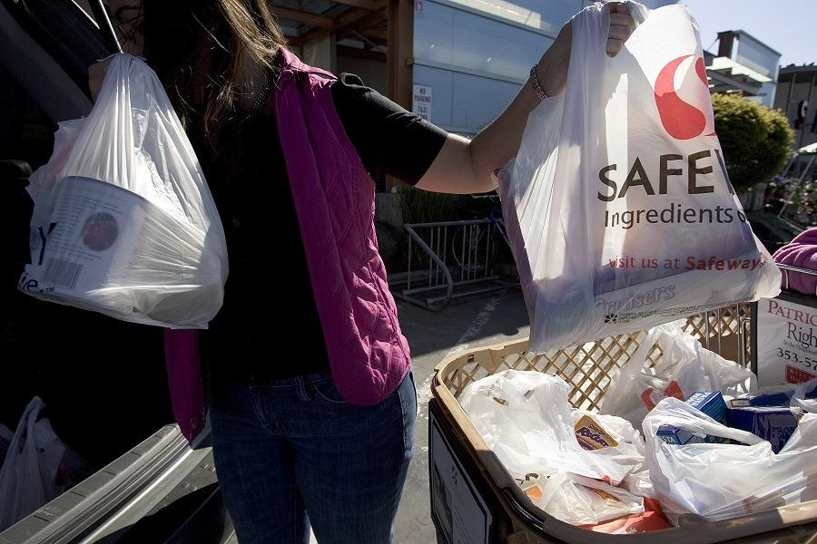 groceries in plastic bags