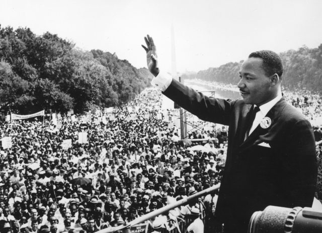 Martin Luther King addresses crowds during the March On Washington at the Lincoln Memorial.