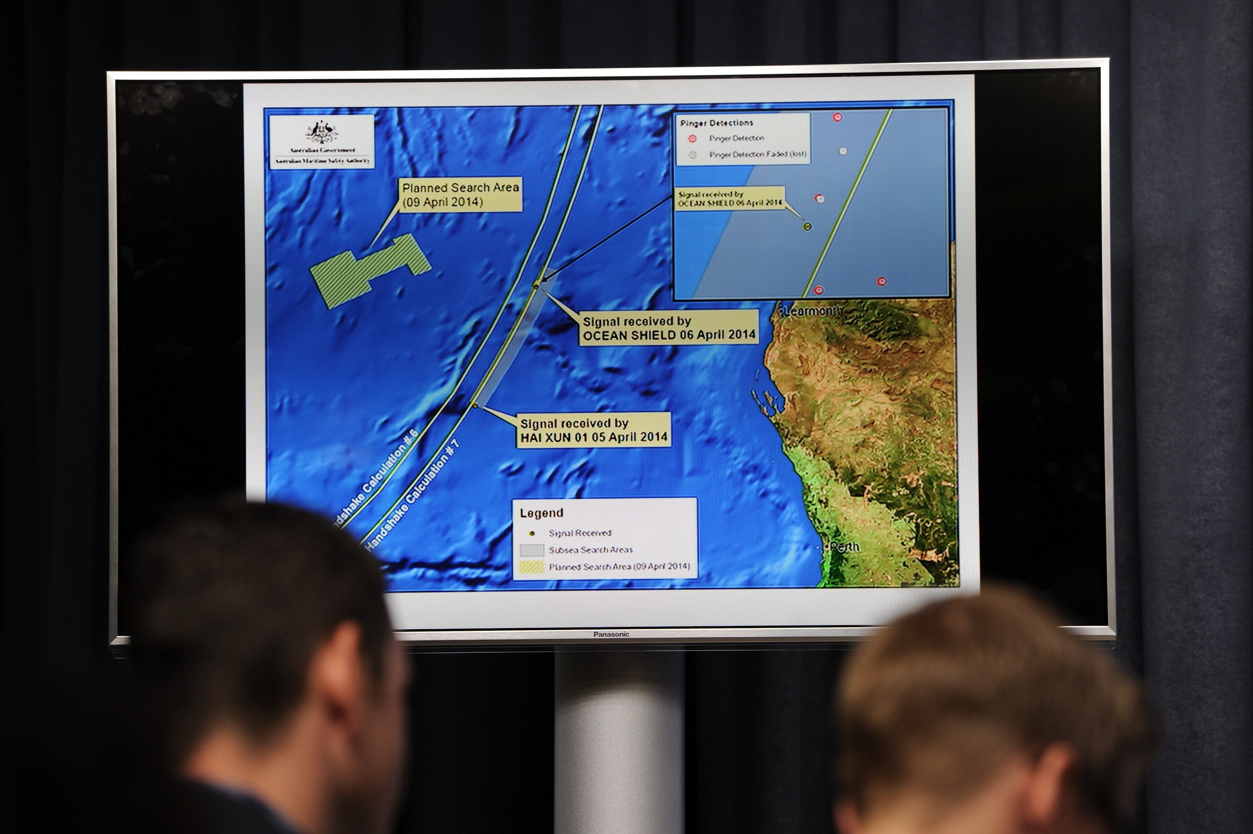 A graphic of the area being searched for missing Malaysia Airlines flight MH370