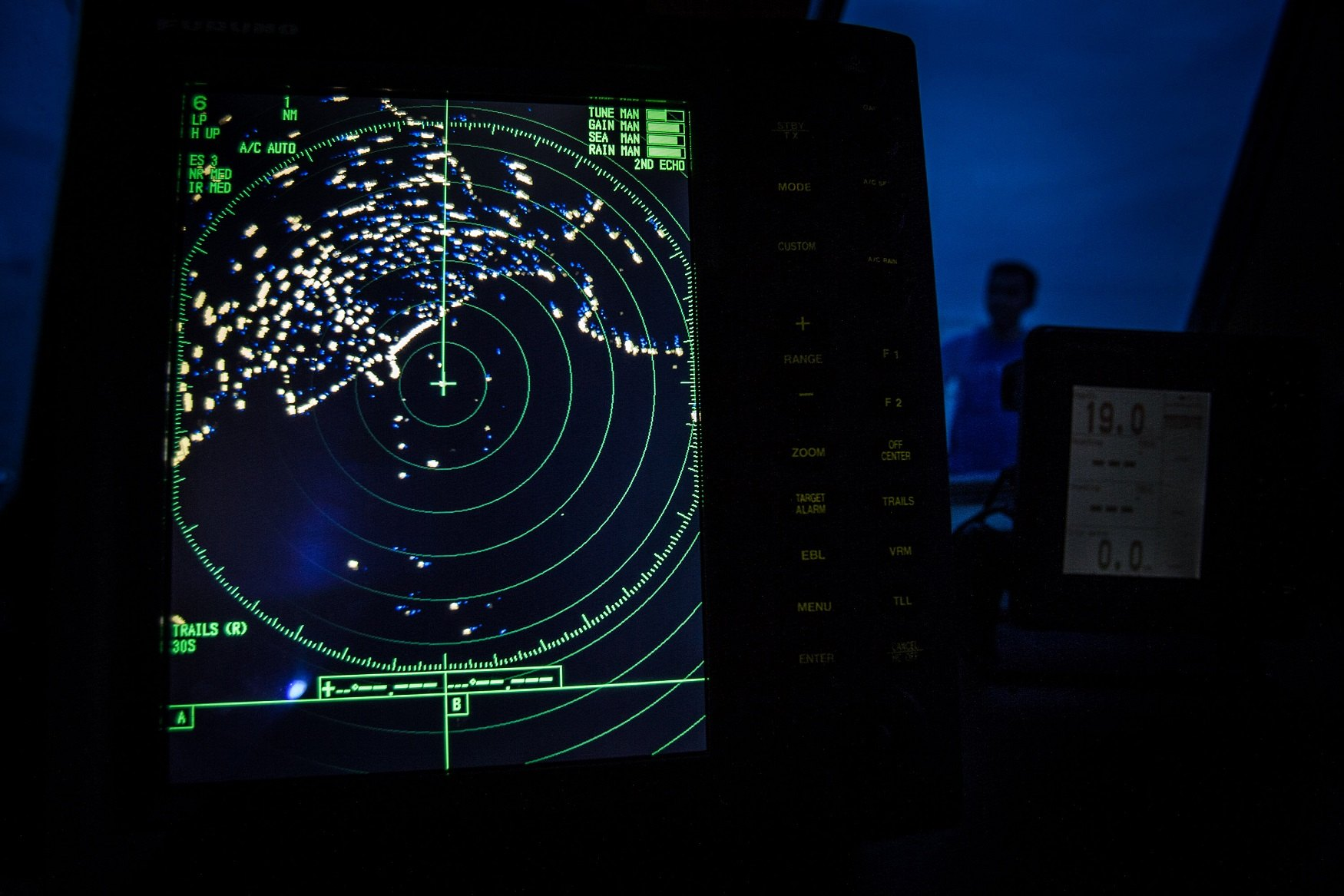 A navigational radar on Indonesia's National Search and Rescue boat