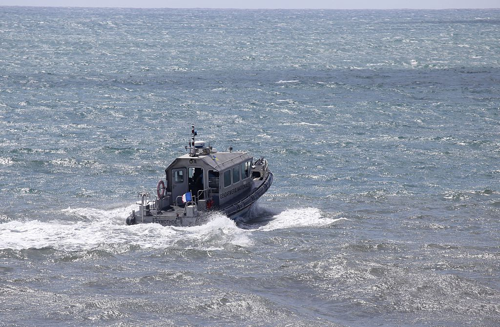 a patrol boat of the French maritime gendarmerie taking part in the search for wreckage from the missing MH370 plane