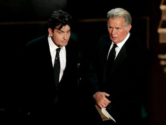 Martin Sheen and Charlie Sheen on stage together.