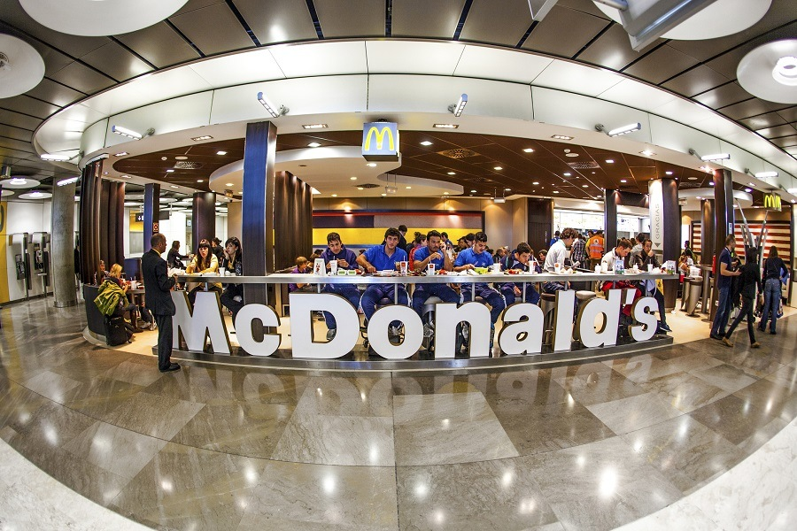 Customers having their meals at McDonald's