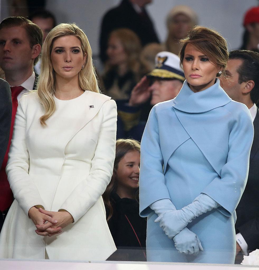 Melania Trump (R), stands with Ivanka Trump