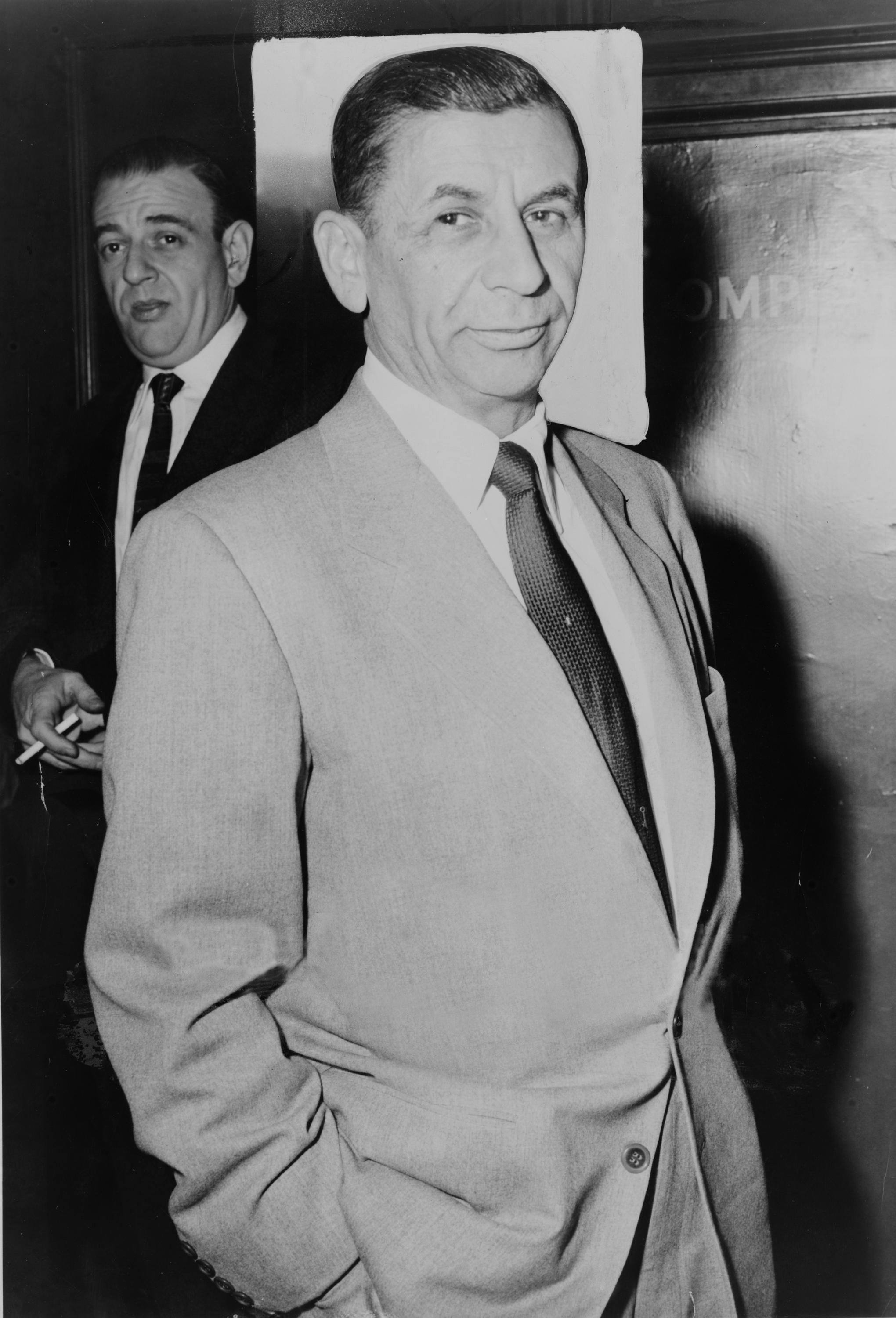 Meyer Lansky walking with hands in pockets