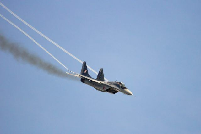 A fighter jet in the sky.
