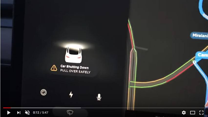 Screenshot of Model 3 shutting down on the road