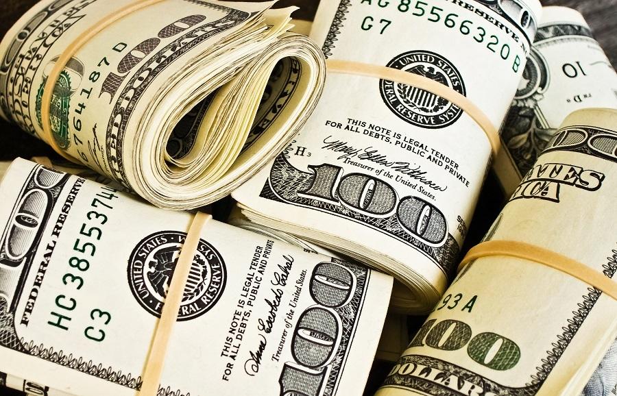 Hundred dollar bills wrapped together