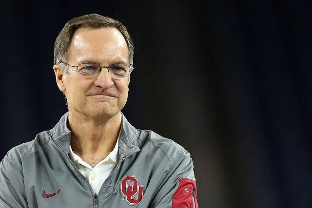 Head coach Lon Kruger of the Oklahoma Sooners looks on during a practice session