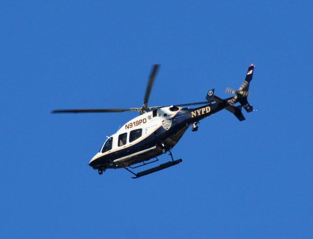An NYPD officer in the sky.