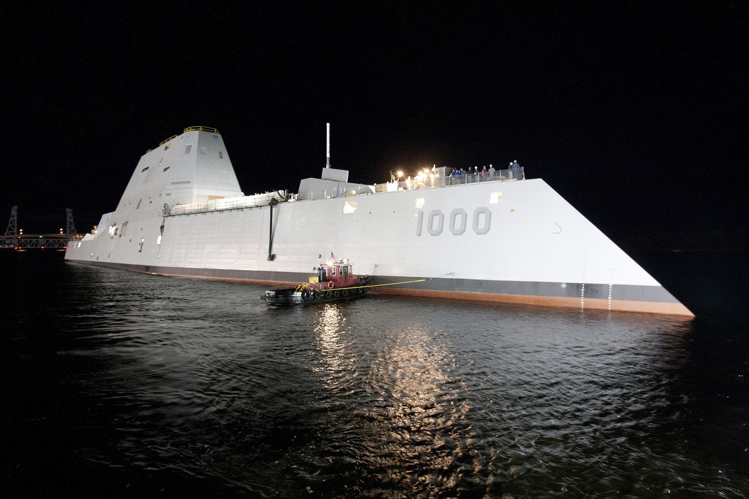 USS Zumwalt at night