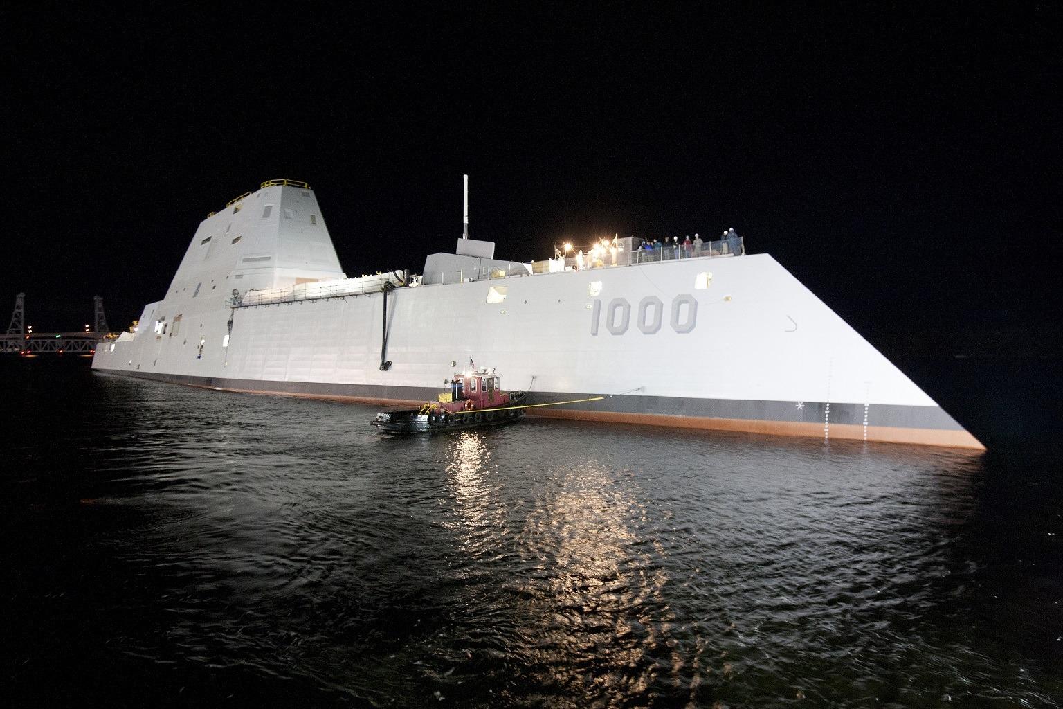 USS Zumwalt at night
