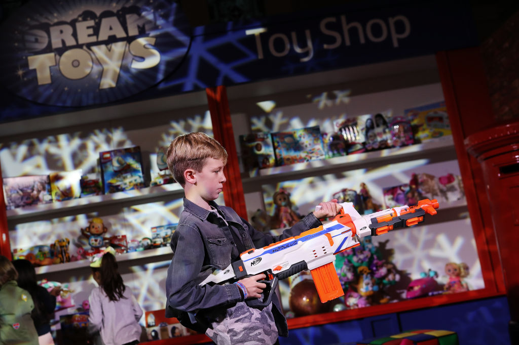 A boy with a 'Nerf Modulus Regulator'
