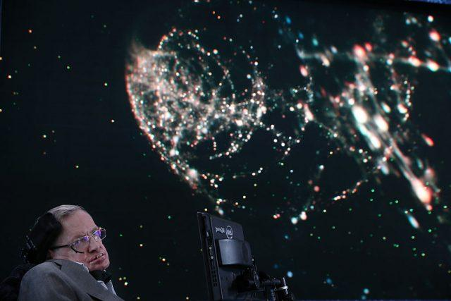 Professor Stephen Hawking onstage during the New Space Exploration Initiative 'Breakthrough Starshot' Announcement at One World Observatory